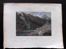 Edward Dayes 1805 Hand Col Print. Dove Dale, Derbyshire